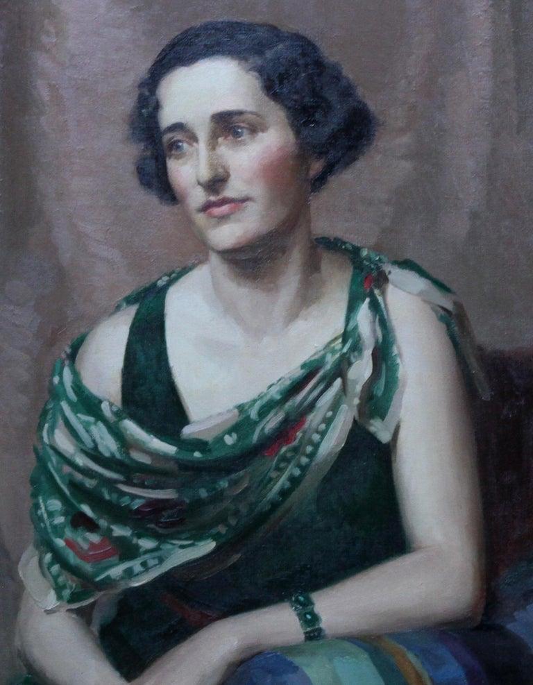 Pamela Abercromby - British Art Deco oil painting portrait lady green dress art 3