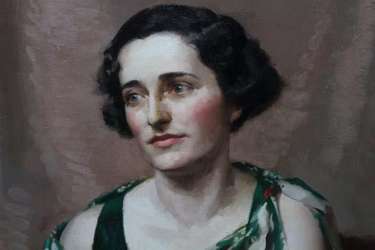 Pamela Abercromby - British Art Deco oil painting portrait lady green dress art 4