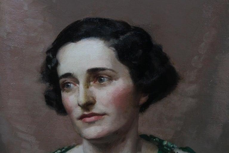 Pamela Abercromby - British Art Deco oil painting portrait lady green dress art 5