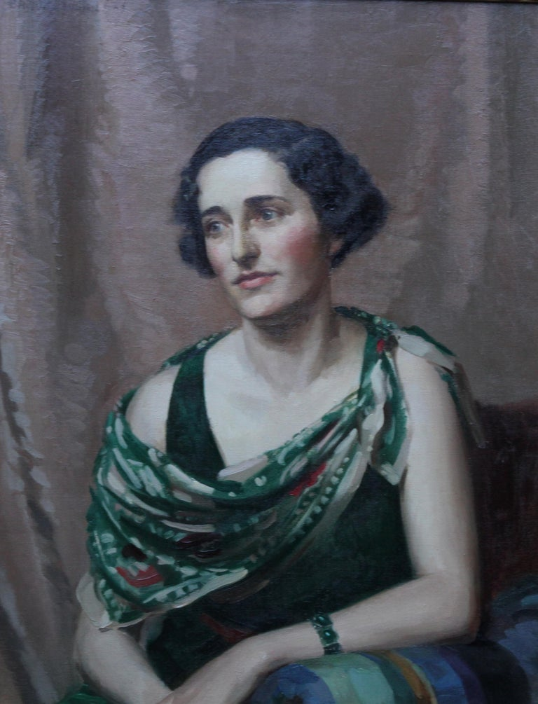 Pamela Abercromby - British Art Deco oil painting portrait lady green dress art 8