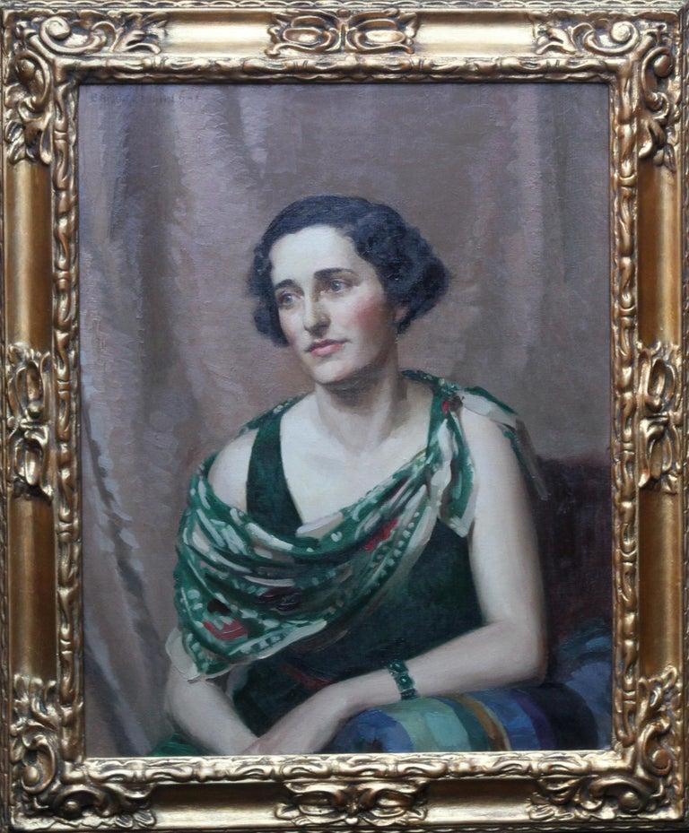 Pamela Abercromby - British Art Deco oil painting portrait lady green dress art 9