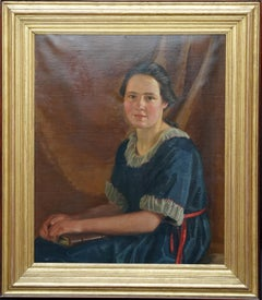 Portrait of a Young Woman with Book - British Art Deco 20s portrait oil painting