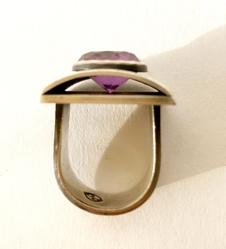 James Parker Sterling Silver Amethyst San Diego Modernist Gentlemens Ring In Good Condition For Sale In Los Angeles, CA