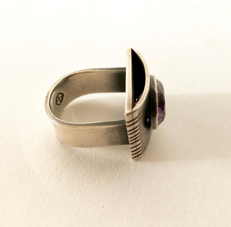Women's or Men's James Parker Sterling Silver Amethyst San Diego Modernist Gentlemens Ring For Sale