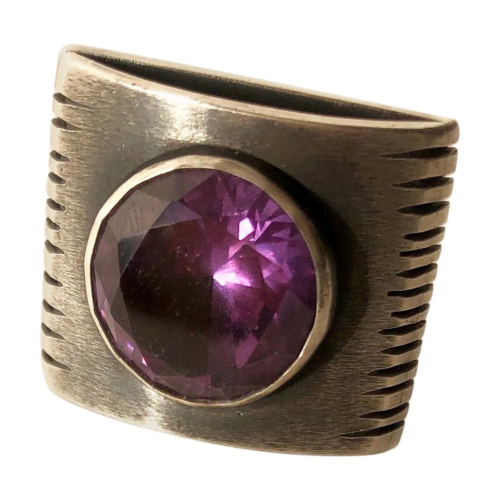 James Parker Sterling Silver Amethyst San Diego Modernist Gentlemens Ring
