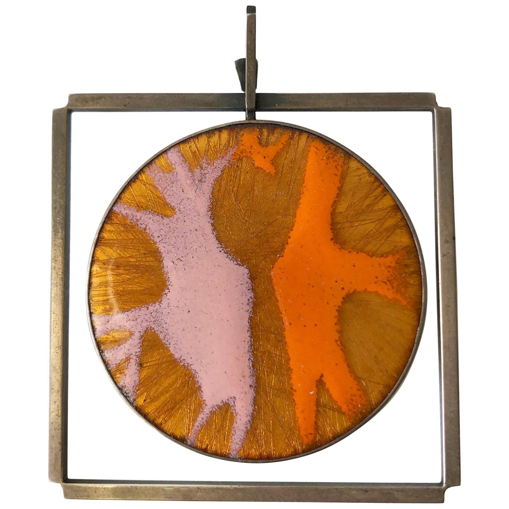 James Parker Sterling Silver Orange and Pink Enamel San Diego Modernist Pendant