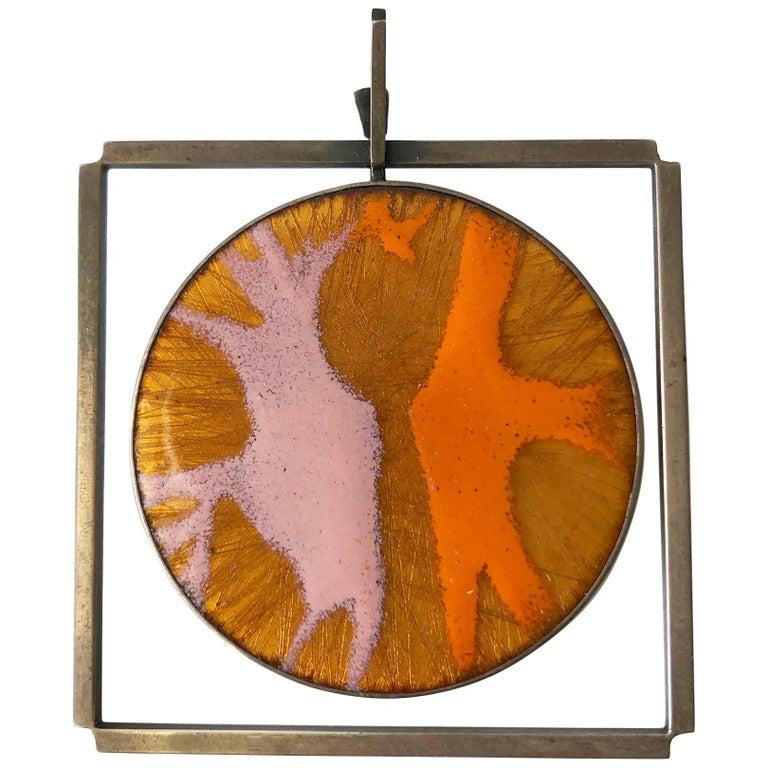 James Parker Sterling Silver Orange and Pink Enamel San Diego Modernist Pendant For Sale