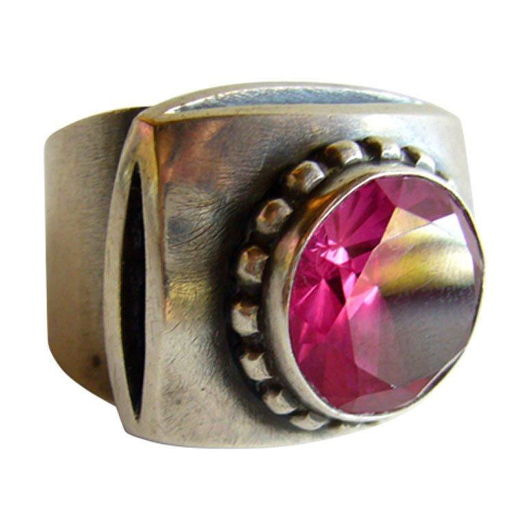 James Parker Sterling Silver Rubilite San Diego Modernist Ring In Excellent Condition For Sale In Los Angeles, CA