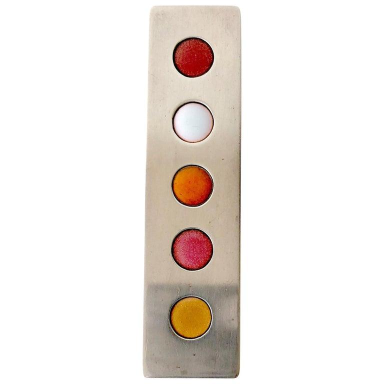 James Parker Sterling Silver San Diego Modernist Enamel Dot Pendant For Sale