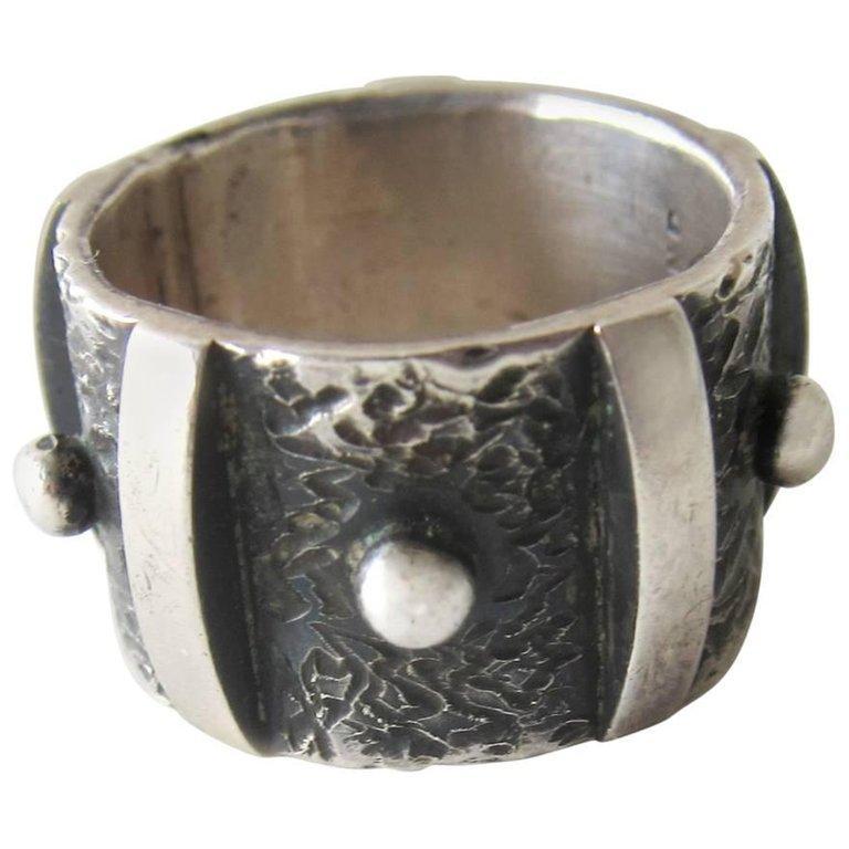 Women's or Men's James Parker Sterling Silver San Diego Modernist Studded Ring For Sale