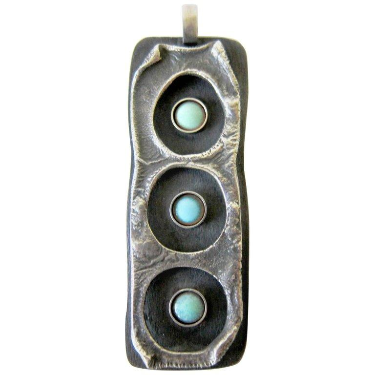 Women's or Men's James Parker Sterling Silver Turquoise Enamel Brutal Modernist Pendant For Sale
