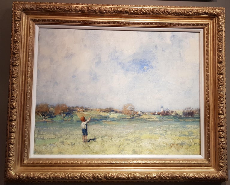19th Century Scottish Landscape painting 'The Kite' with Figure and Green Fields - Painting by James Paterson
