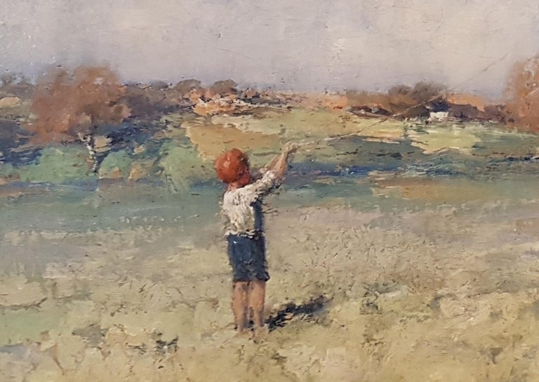 'The Kite' by James Paterson is a 19th Century Scottish Landscape painting of an incredibly high calibre. The soft hues are inviting and the young boy flying the kite nostalgic.  Paterson is often categorised as one of the so-called Glasgow Boys,