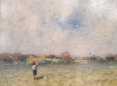 19th Century Scottish Landscape painting 'The Kite' with Figure and Green Fields