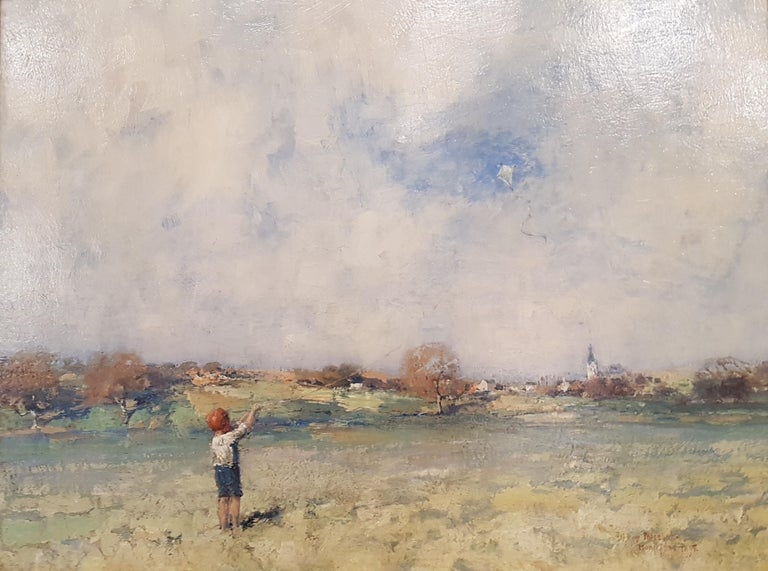 James Paterson Figurative Painting - 19th Century Scottish Landscape painting 'The Kite' with Figure and Green Fields