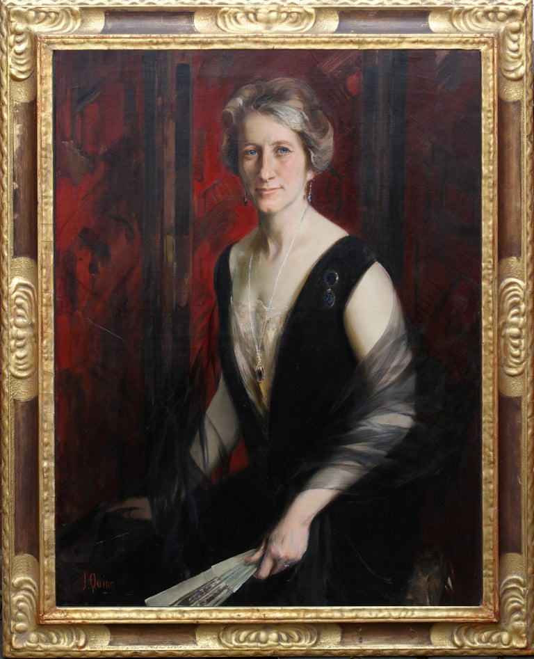 Portrait of Violet Ann Gilbert - Australian 1920's exhibited art oil painting For Sale 5