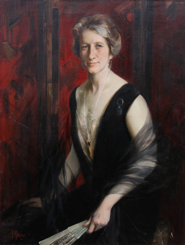 Portrait of Violet Ann Gilbert - Australian 1920's exhibited art oil painting - Painting by James Peter Quinn