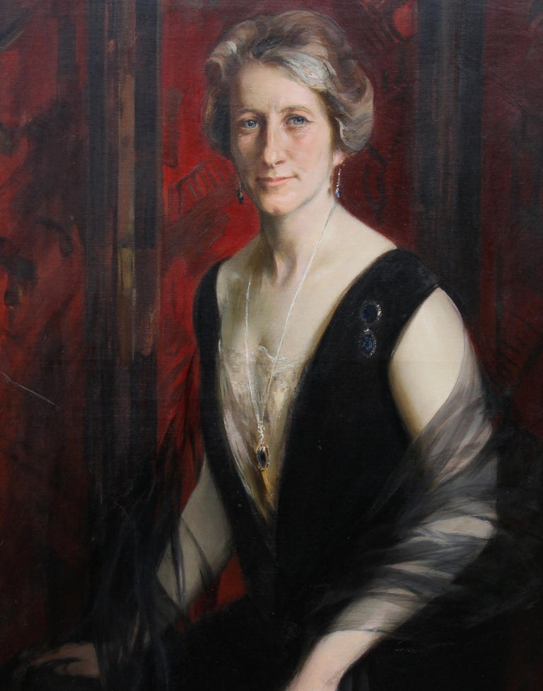 Portrait of Violet Ann Gilbert - Australian 1920's exhibited art oil painting - Art Deco Painting by James Peter Quinn