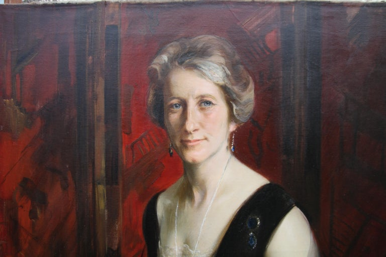 Portrait of Violet Ann Gilbert - Australian 1920's exhibited art oil painting - Black Interior Painting by James Peter Quinn