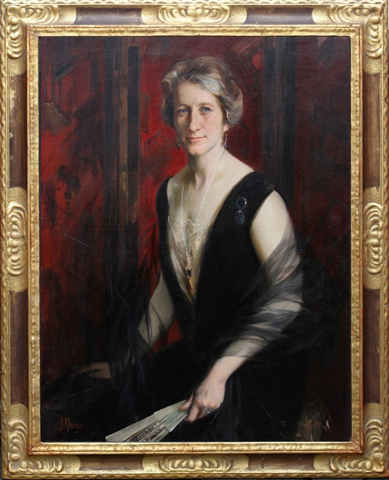 James Peter Quinn Interior Painting - Portrait of Violet Ann Gilbert - Australian 1920's exhibited art oil painting