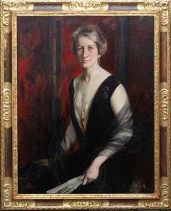 Portrait of Violet Ann Gilbert - British 1920s art oil painting exh Paris Salon