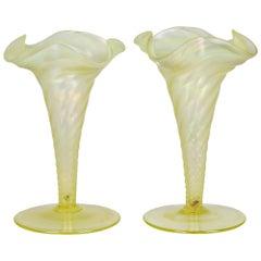 James Powell & Sons Pair Opalescent Yellow Uranium Glass Vases
