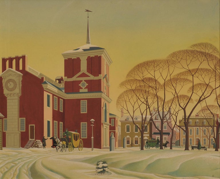 James R. Bingham Figurative Painting - Snow at Independence Hall