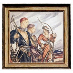 "James Reynolds New York Illustrator, Deco Watercolor on Paper, 1937, ""Tashkent"""