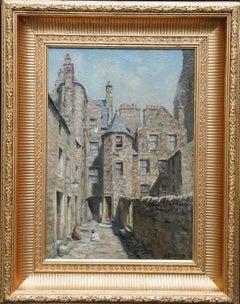 St John's Close, Canongate, Edinburgh - Scottish art architectural oil painting