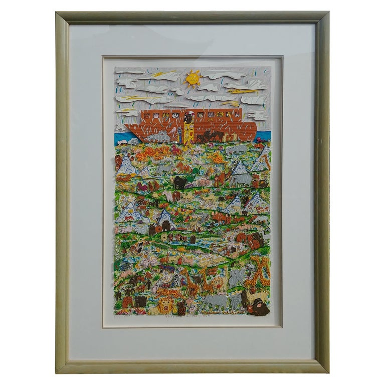 """James Rizzi, 3D Pop Art"""" Forty Days and Forty Nights"""" Screen Print, Signed Dated For Sale"""