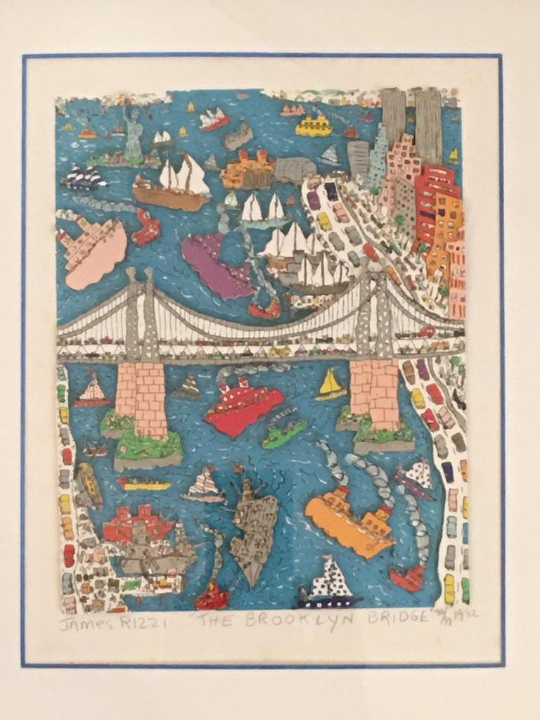 James Rizzi Brooklyn Bridge 1982 99/99 For Sale 3