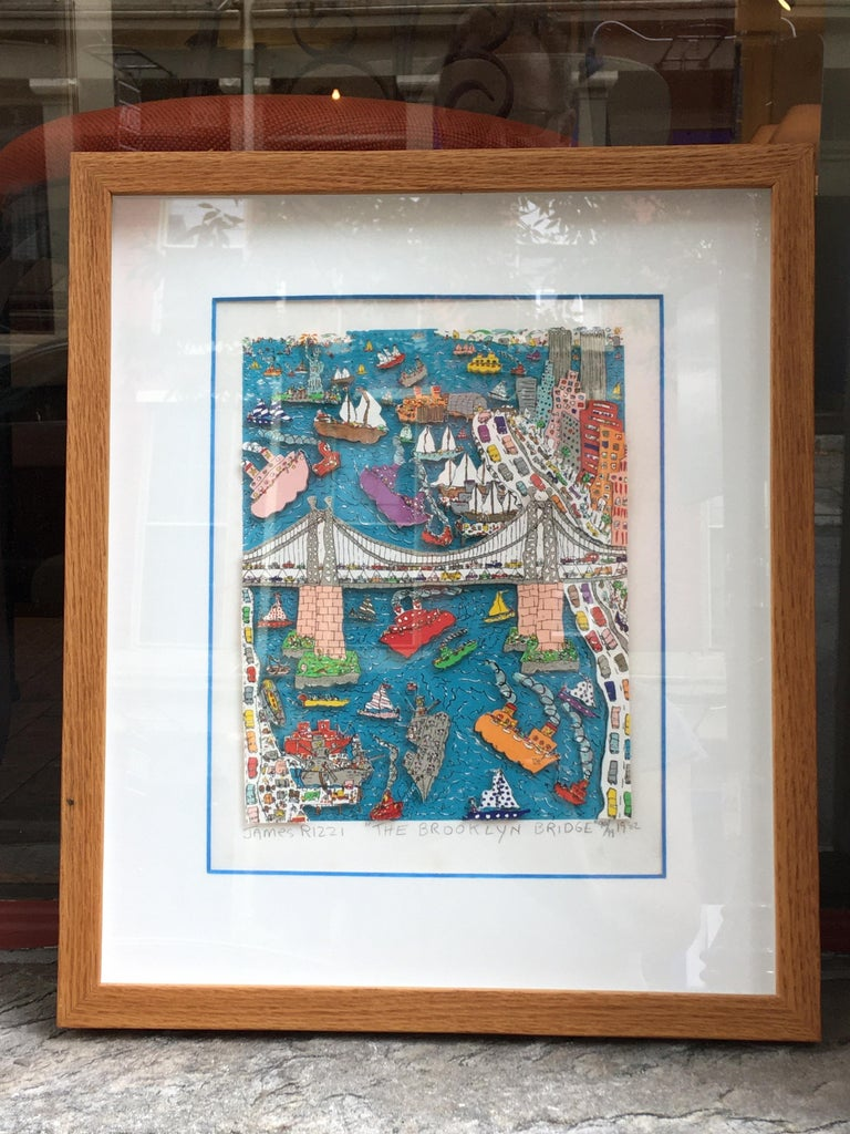 Jame Rizzi Brooklyn Bridge 3-D lithograph. Probably one of his more Iconic Images! There are at least 2 versions of the Brooklyn Bridge that I have seen. This one is from 1982 99/99. Last print from the series. Relatively small editions of 100.