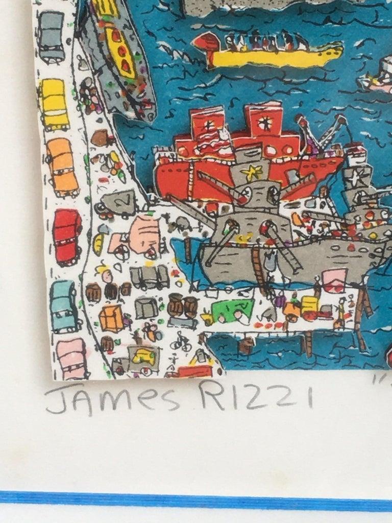 James Rizzi Brooklyn Bridge 1982 99/99 In Good Condition For Sale In Philadelphia, PA