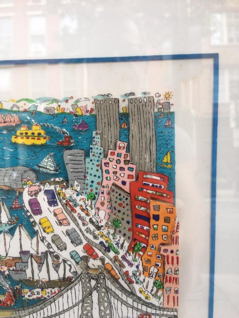 Paper James Rizzi Brooklyn Bridge 1982 99/99 For Sale