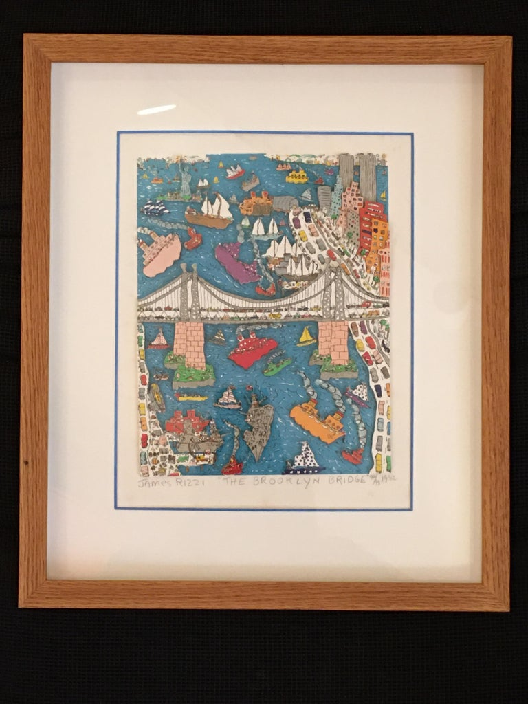 James Rizzi Brooklyn Bridge 1982 99/99 For Sale 2