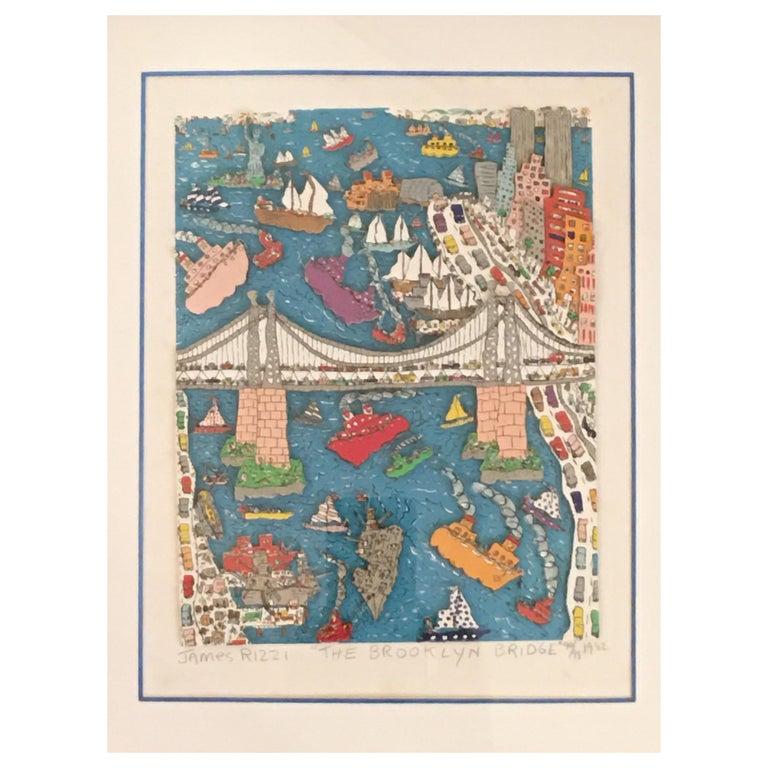 James Rizzi Brooklyn Bridge 1982 99/99 For Sale