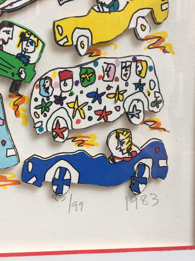 James Rizzi Crosstown Traffic 1983 85/99. Traffic was a favorite Subject! A few pieces deal with Manhattan's Parade of Cars! There is another Piece much like this one called Crosstown. 3-D Construction by Brooklyn Born Pop Art Artist! This is a