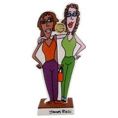 James Rizzi for Goebel, Pop Art Porcelain Figure, Girls Night Out