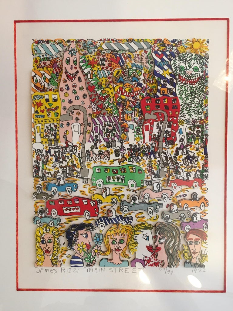 James Rizzi Main Street 1982 3-D Lithograph 58/99 For Sale 3
