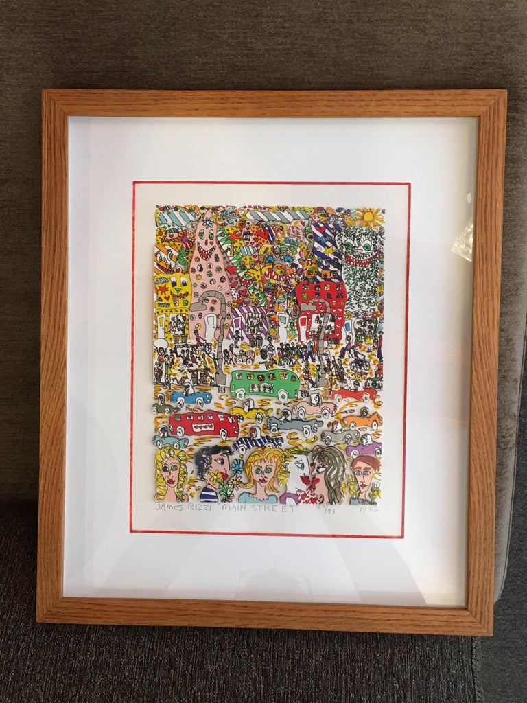 James Rizzi Main Street 1982 3-D Lithograph 58/99 For Sale 4