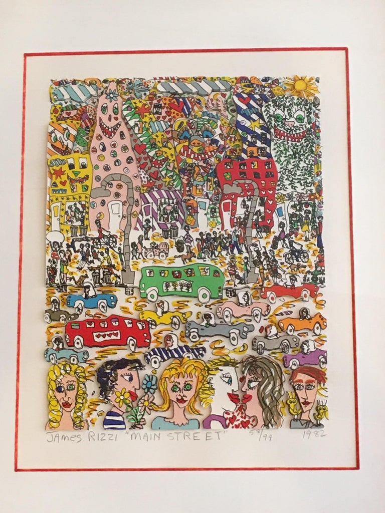 James Rizzi Main Street 1982 3-D Lithograph 58/99 For Sale 5