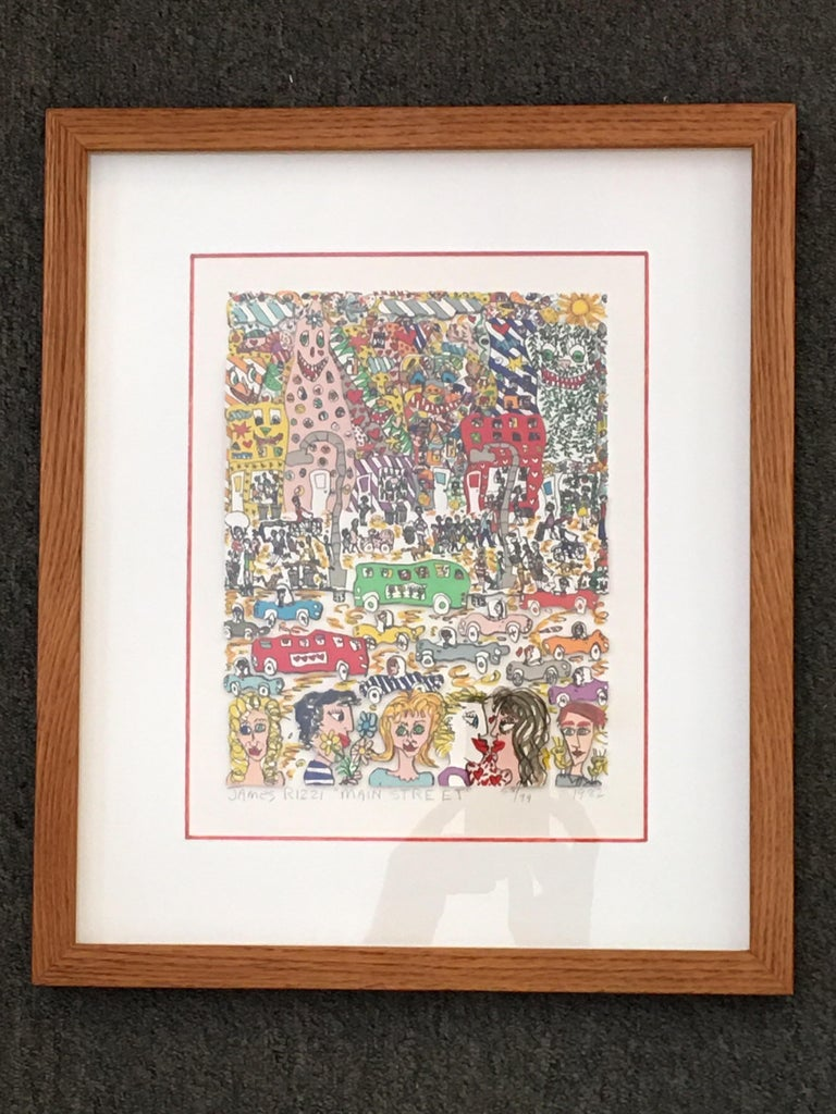 James Rizzi Main Street 1982 3-D Lithograph 58/99 For Sale 2