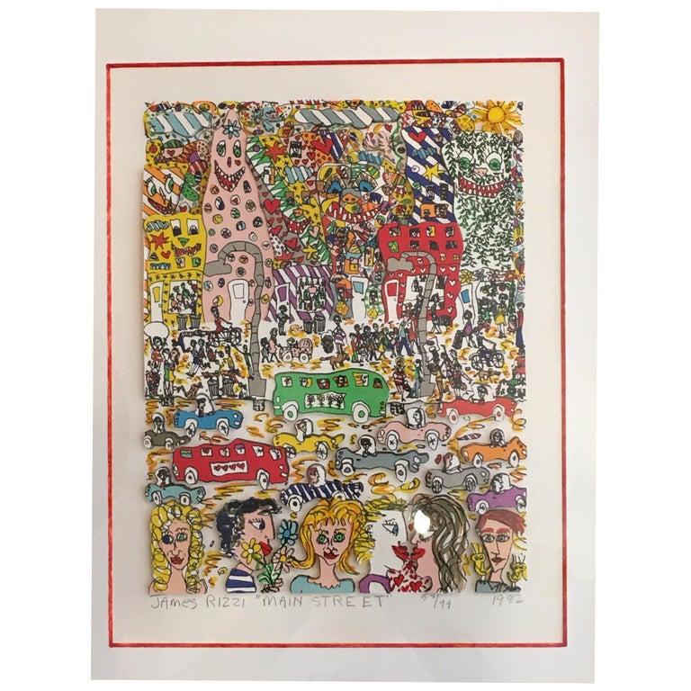 James Rizzi Main Street 1982 3-D Lithograph 58/99 For Sale