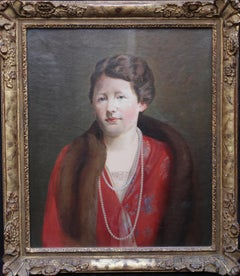 Elizabeth Exley - British Art Deco 30's inter war female portrait oil painting