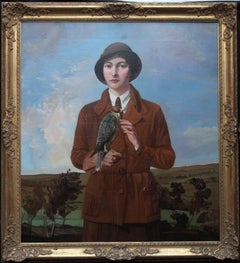 The Young Falconer - British Art Deco female portrait oil painting landscape