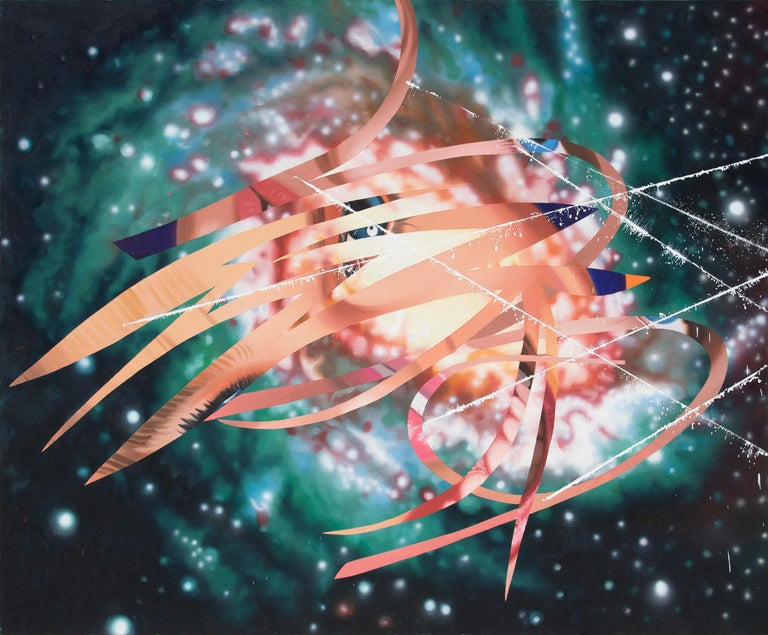 Television or the Cat's Cradle Supports Electronic Picture - Black Abstract Painting by James Rosenquist