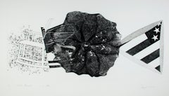 """Black Triangle,"" black pop art etching by James Rosenquist"