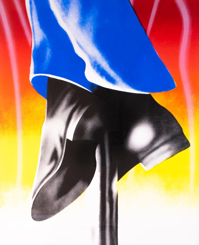 Expo '67 Mural - Firepole (Framed): neon pop art with airbrush details  - Pop Art Print by James Rosenquist