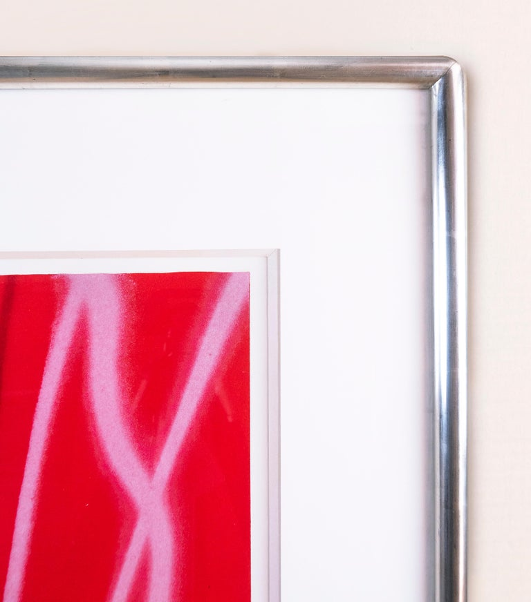Expo '67 Mural - Firepole (Framed): neon pop art with airbrush details  - Blue Figurative Print by James Rosenquist