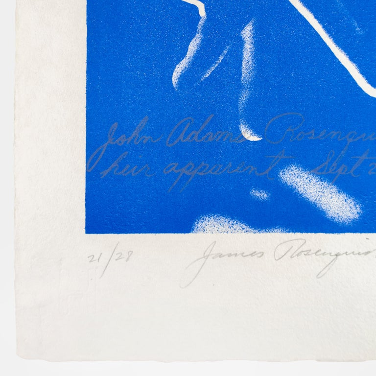 Heir Apparent, James Rosenquist lithograph in electric blue  - Gray Figurative Print by James Rosenquist